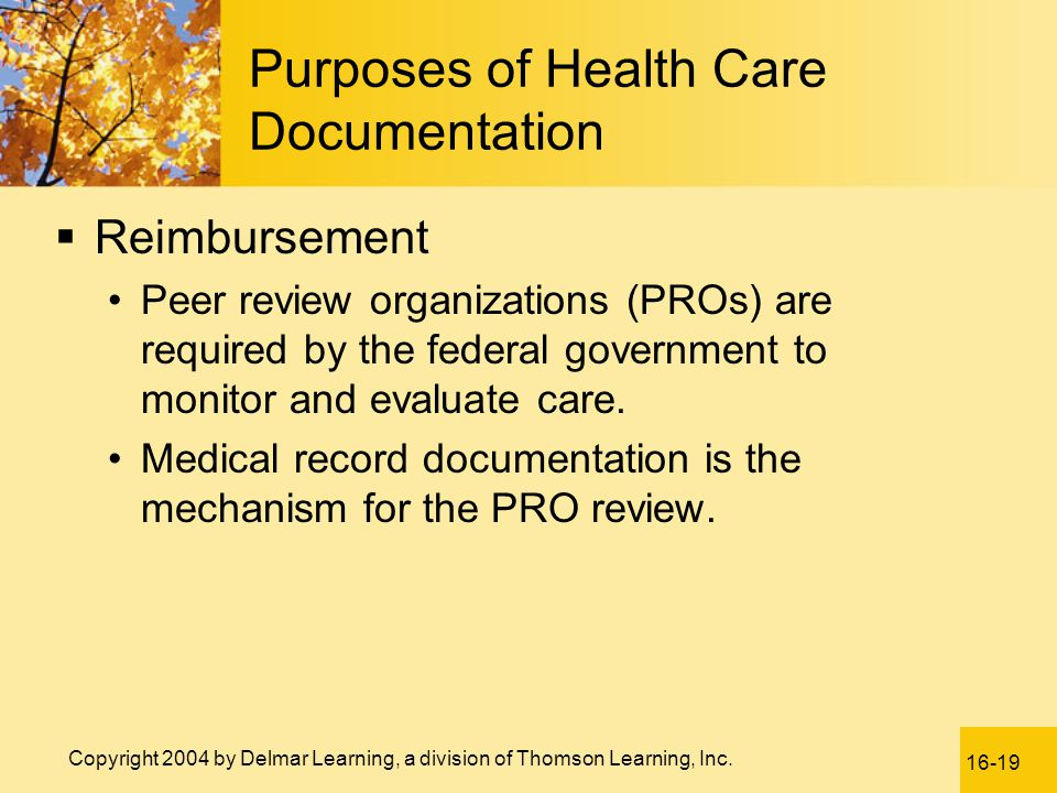 Purposes of Health Care Documentation