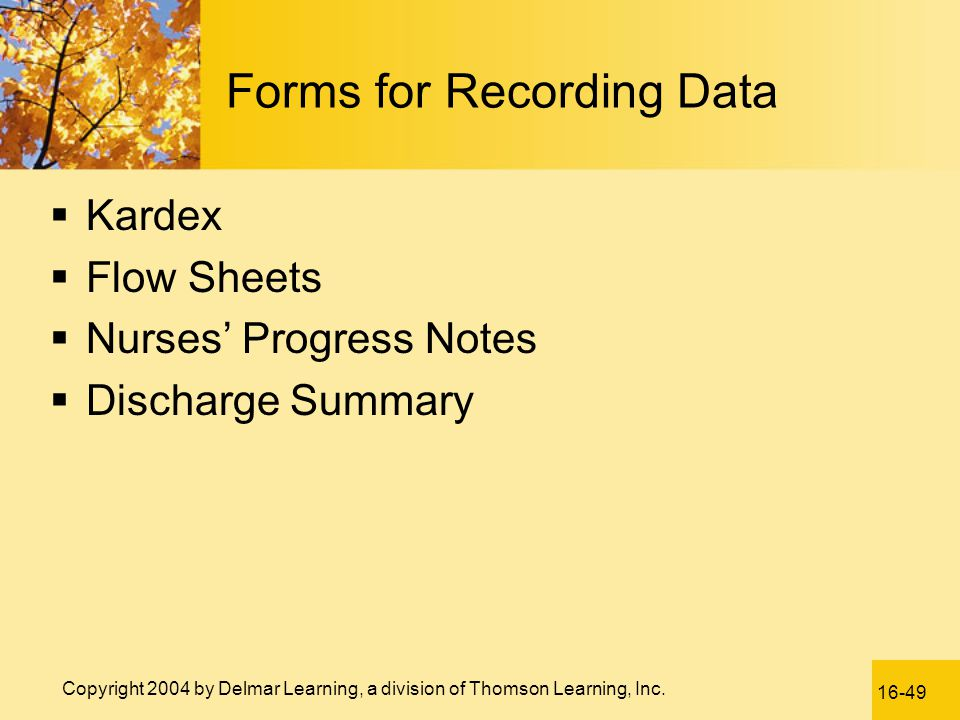 Forms for Recording Data