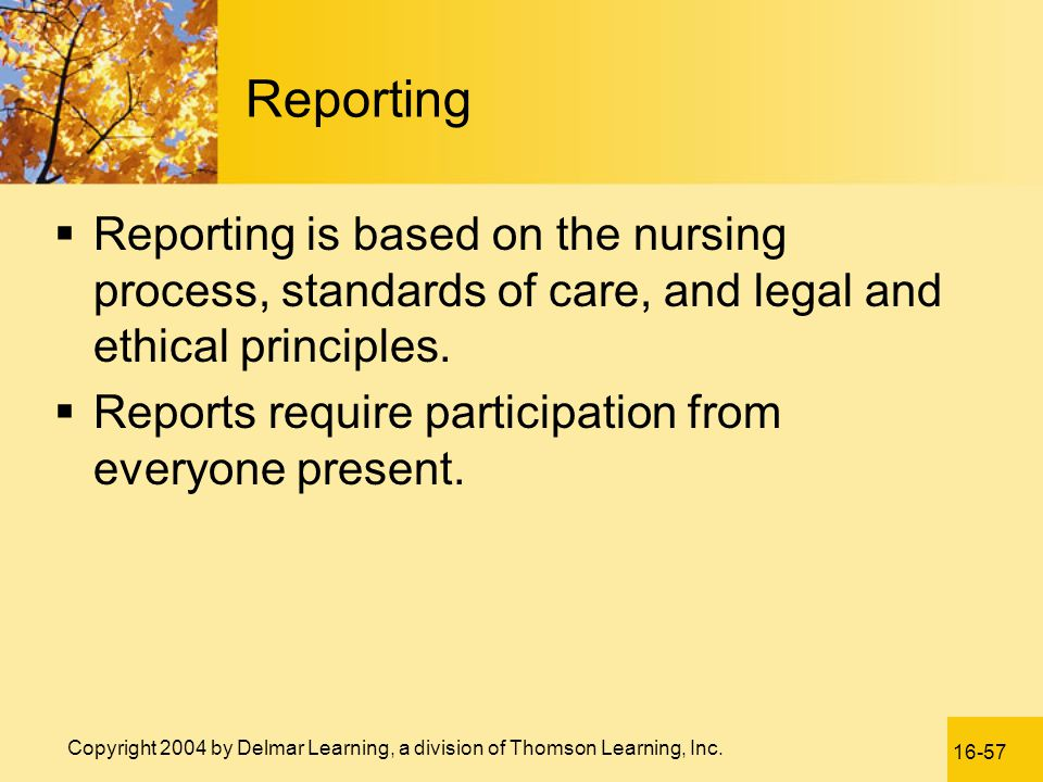 Reporting Reporting is based on the nursing process, standards of care, and legal and ethical principles.