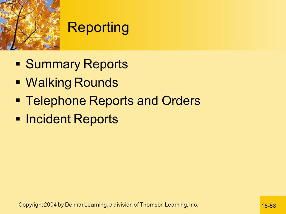 Reporting Summary Reports Walking Rounds Telephone Reports and Orders