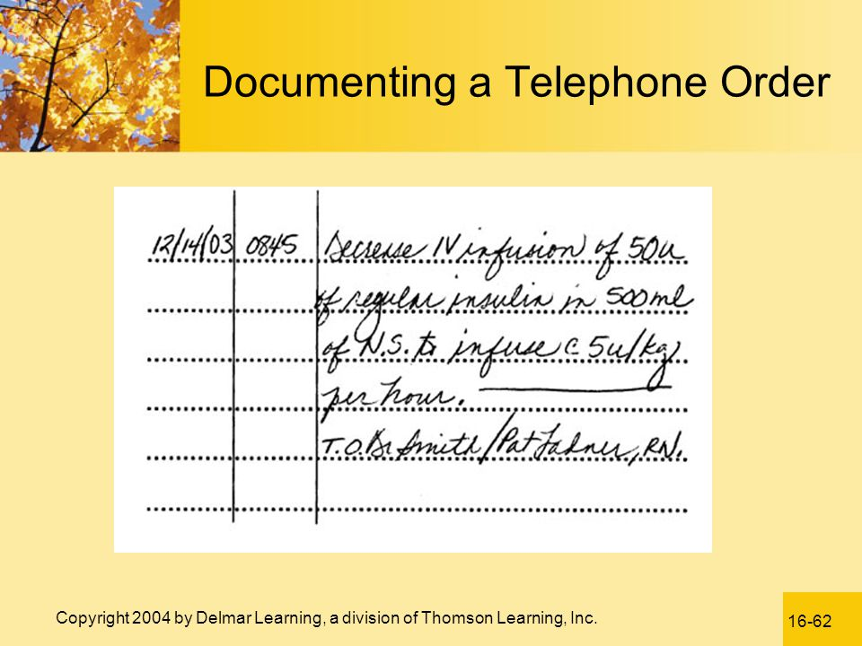 Documenting a Telephone Order