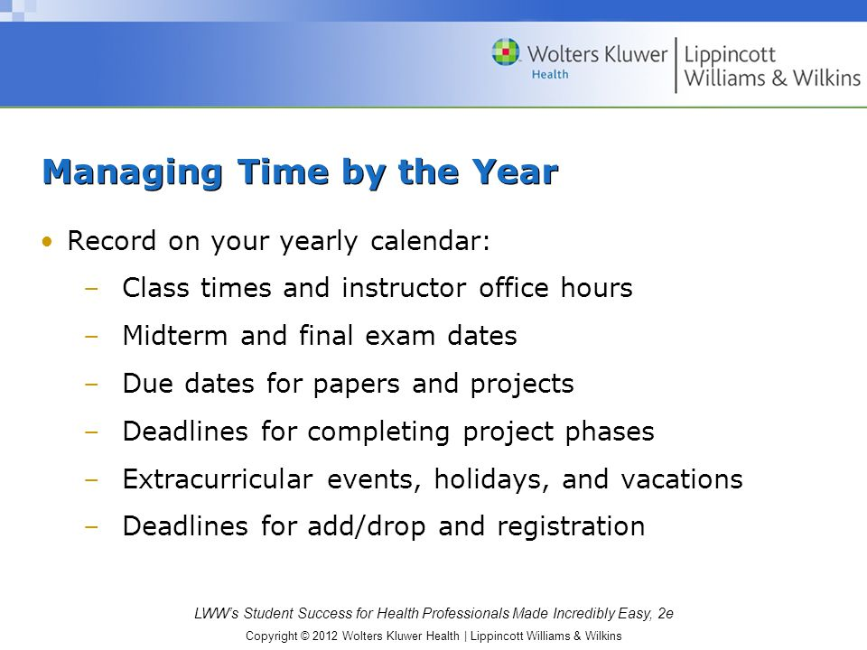 Managing Time by the Year