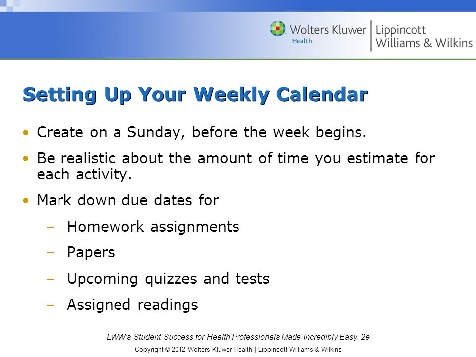 Setting Up Your Weekly Calendar