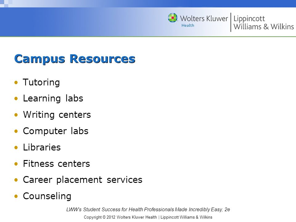 Campus Resources Tutoring Learning labs Writing centers Computer labs