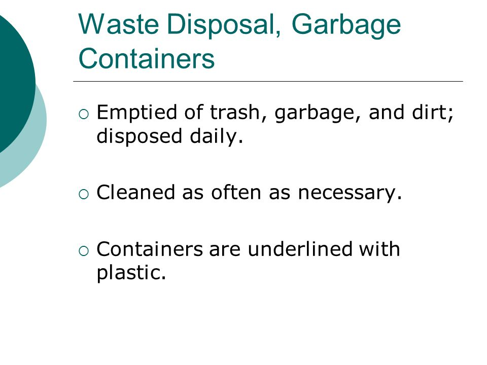 Waste Disposal, Garbage Containers