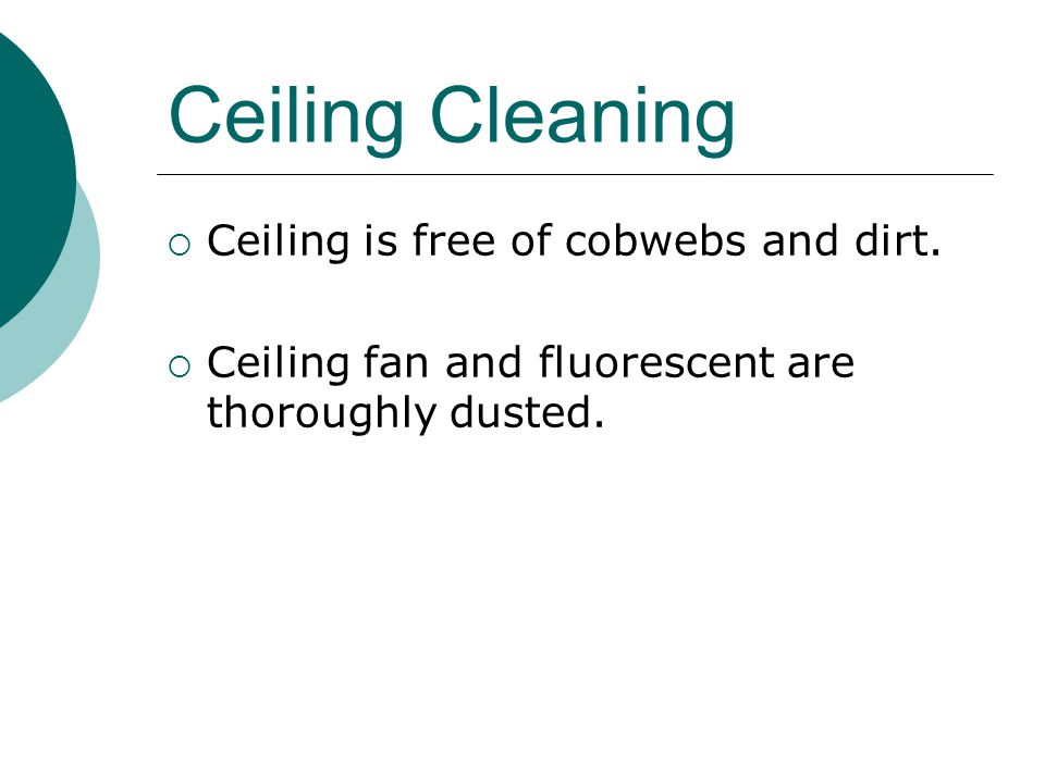 Ceiling Cleaning Ceiling is free of cobwebs and dirt.