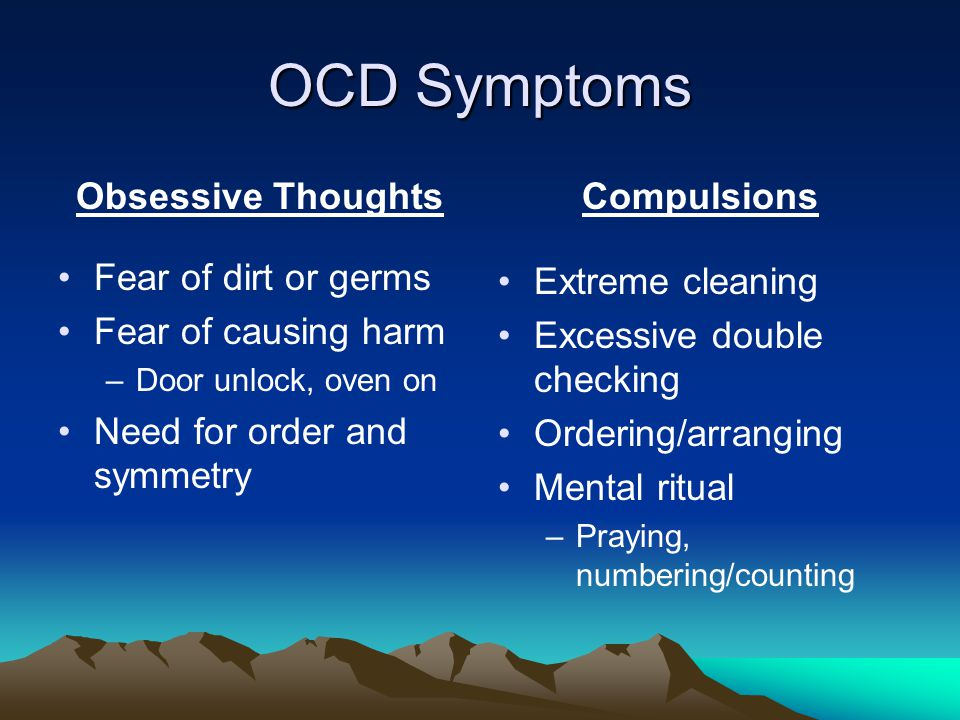 OCD Symptoms Obsessive Thoughts Fear of dirt or germs