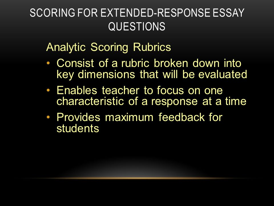 Rubric for restricted response essay
