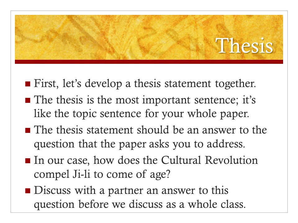 Argumentative Essay High School  Thesis First Lets Develop A  Locavore Synthesis Essay also 5 Paragraph Essay Topics For High School Writing The Red Scarf Girl Essay  Ppt Video Online Download Science Development Essay