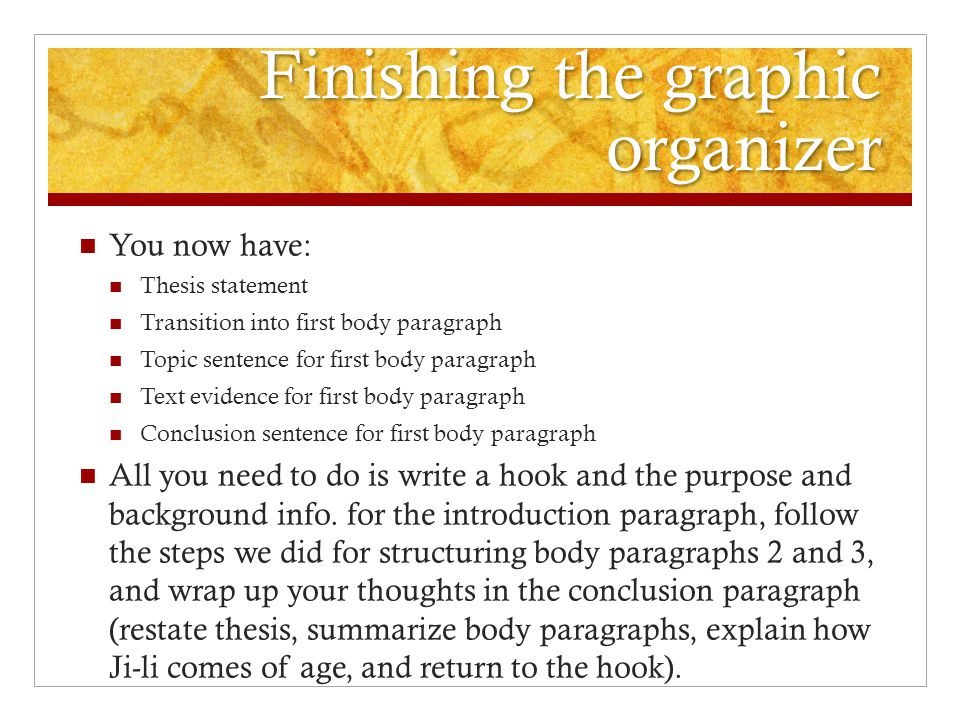 writing the red scarf girl essay ppt video online 8 finishing the graphic organizer