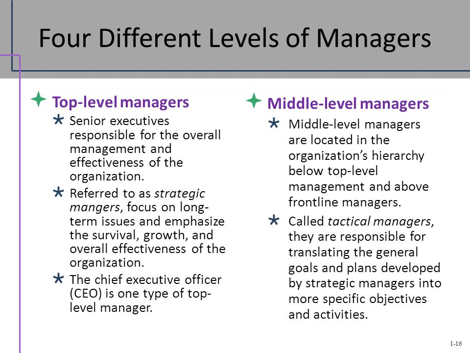 different ranges of management