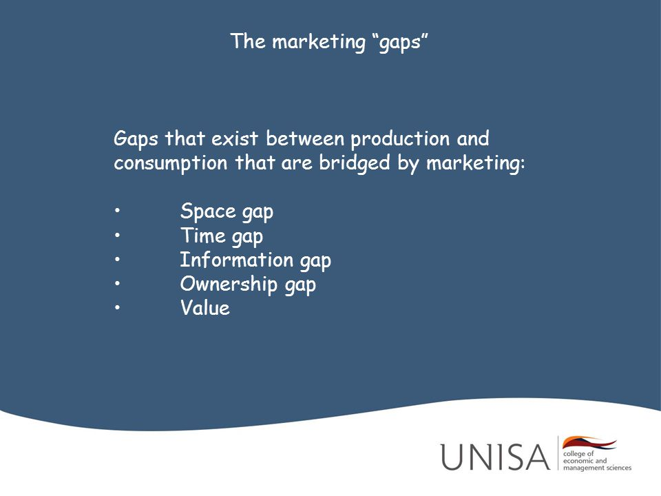 The marketing gaps Gaps that exist between production and consumption that are bridged by marketing: