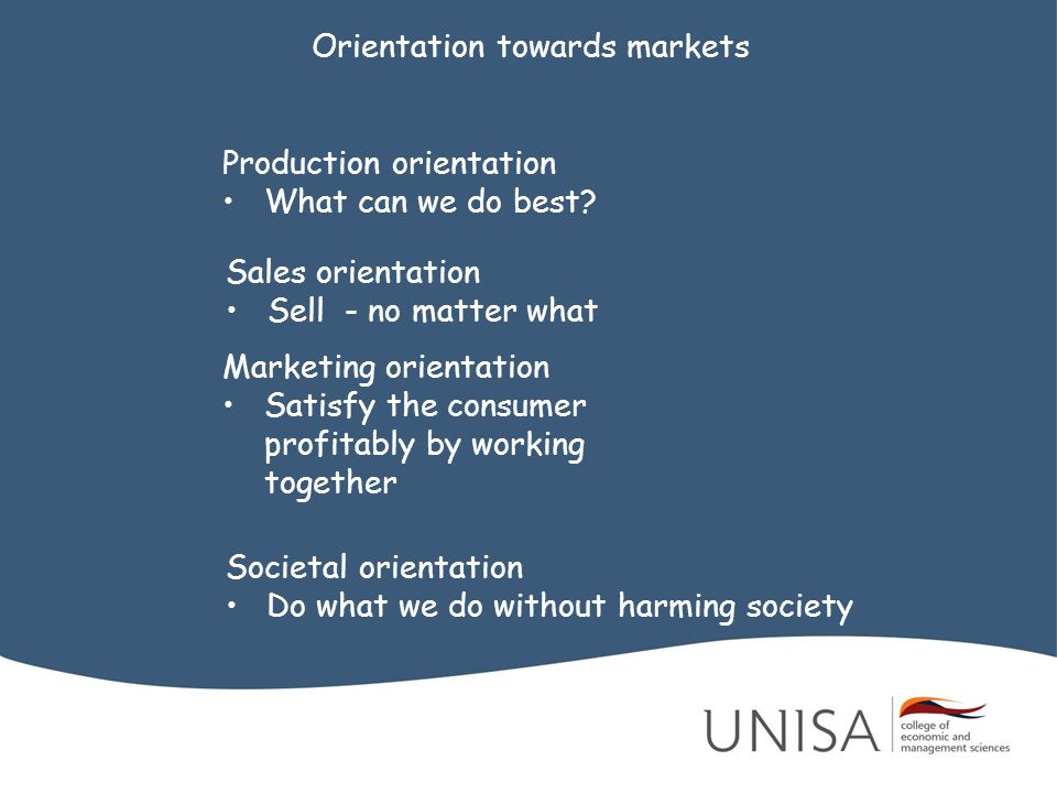 Orientation towards markets