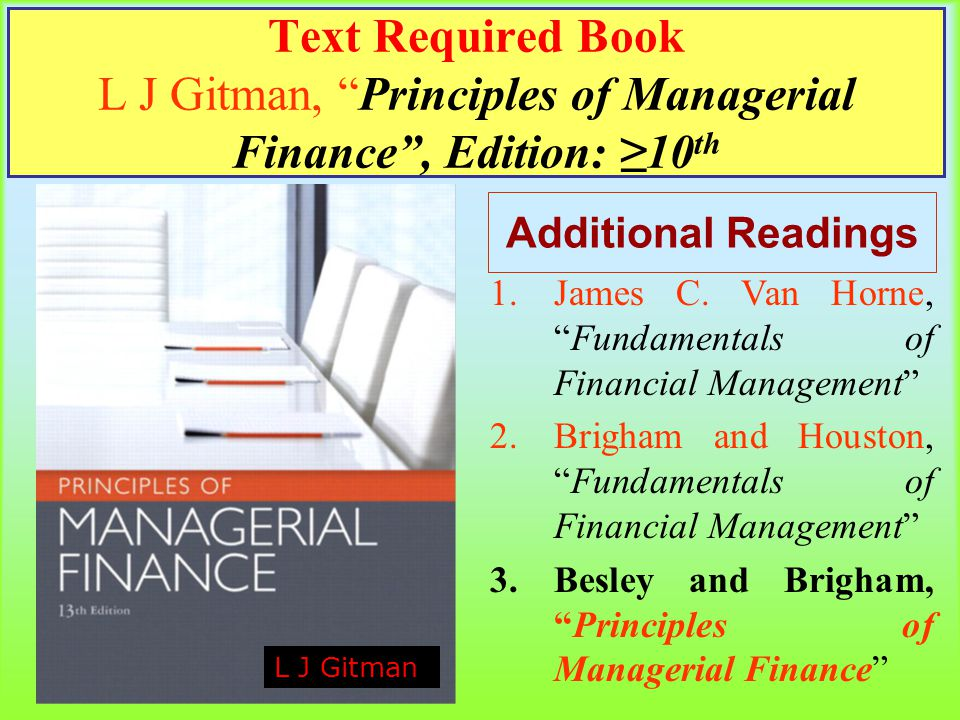 principles of managerial finance 10th answers View notes - chapter 4 from accounting 101 at trisakti university principles of managerial finance solution lawrence j gitman part 2 important financial concepts chapters in this part 4 time value.