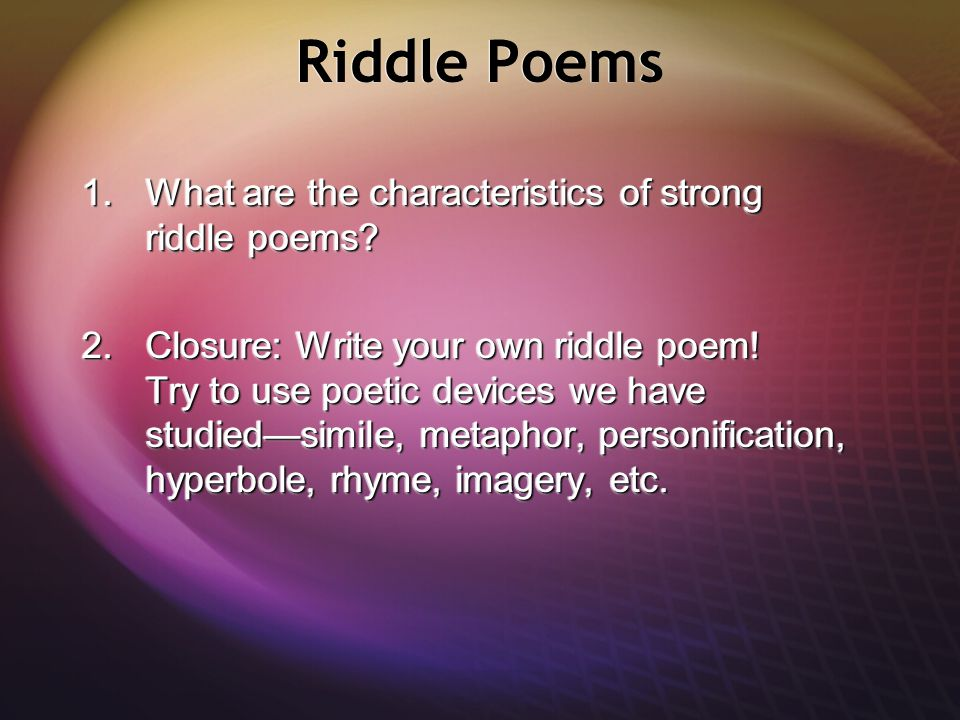 poetic devices and poems Start studying poetic device terms and examples learn vocabulary, terms, and more with flashcards, games, and other study tools.