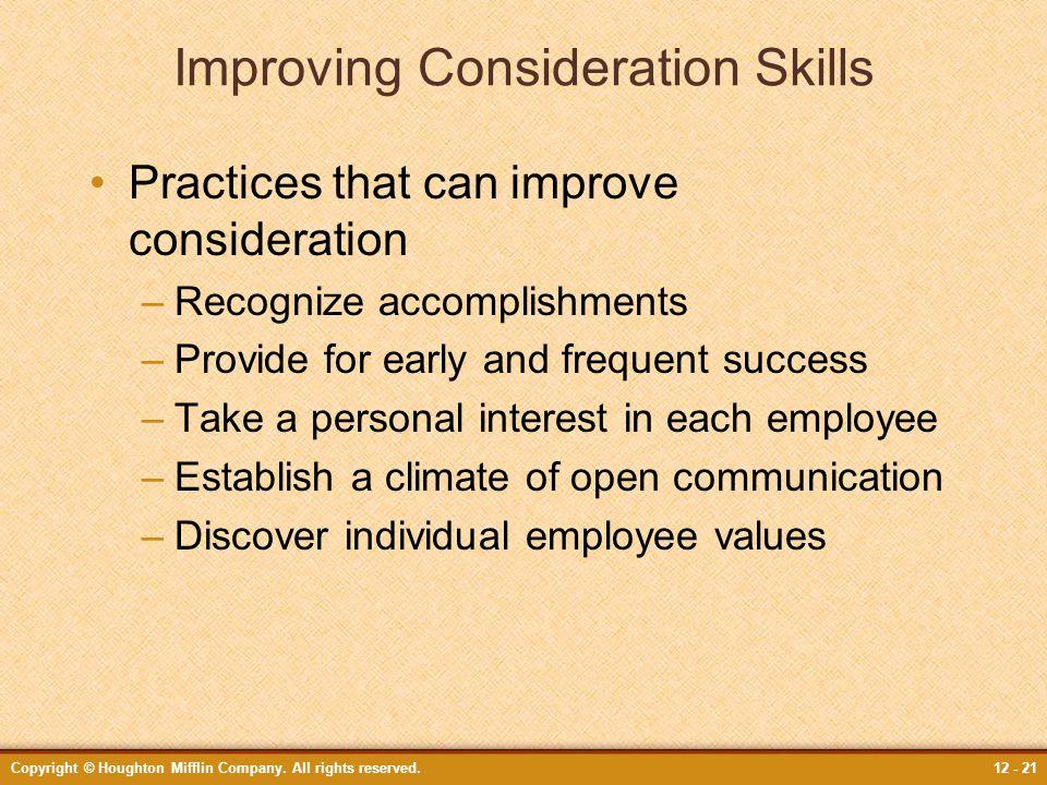 Improving Consideration Skills