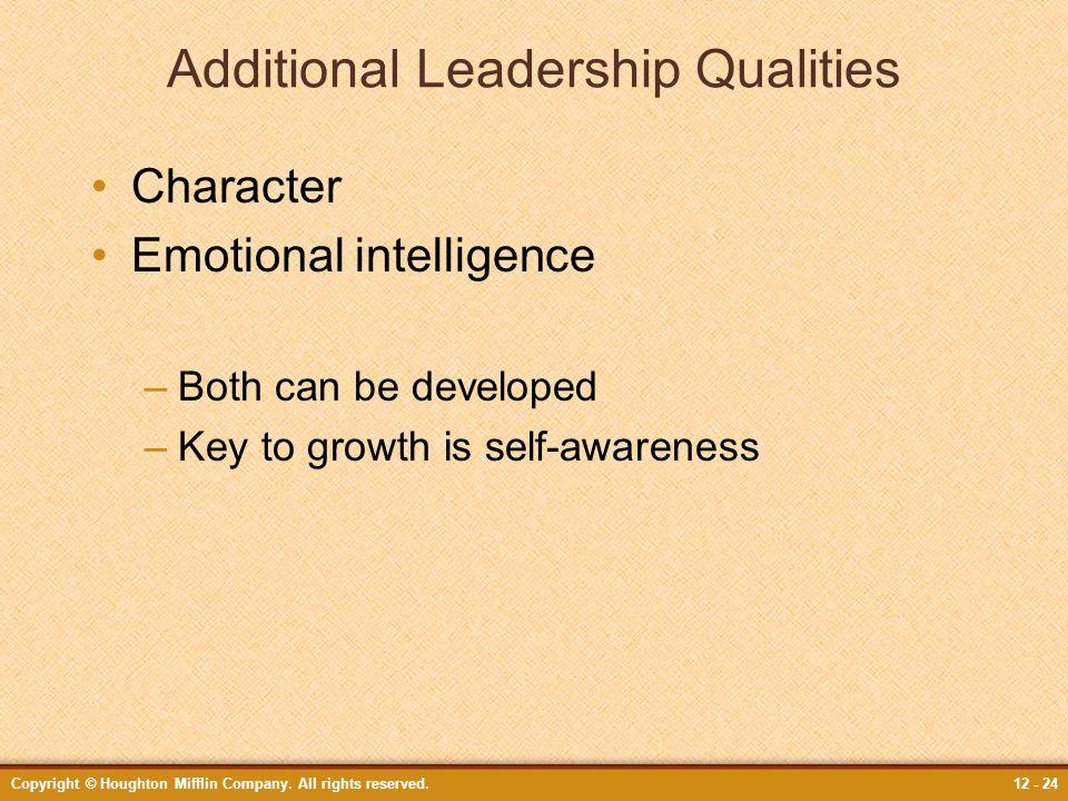 Additional Leadership Qualities