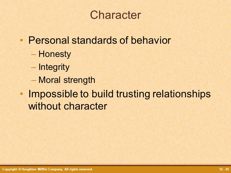 Character Personal standards of behavior