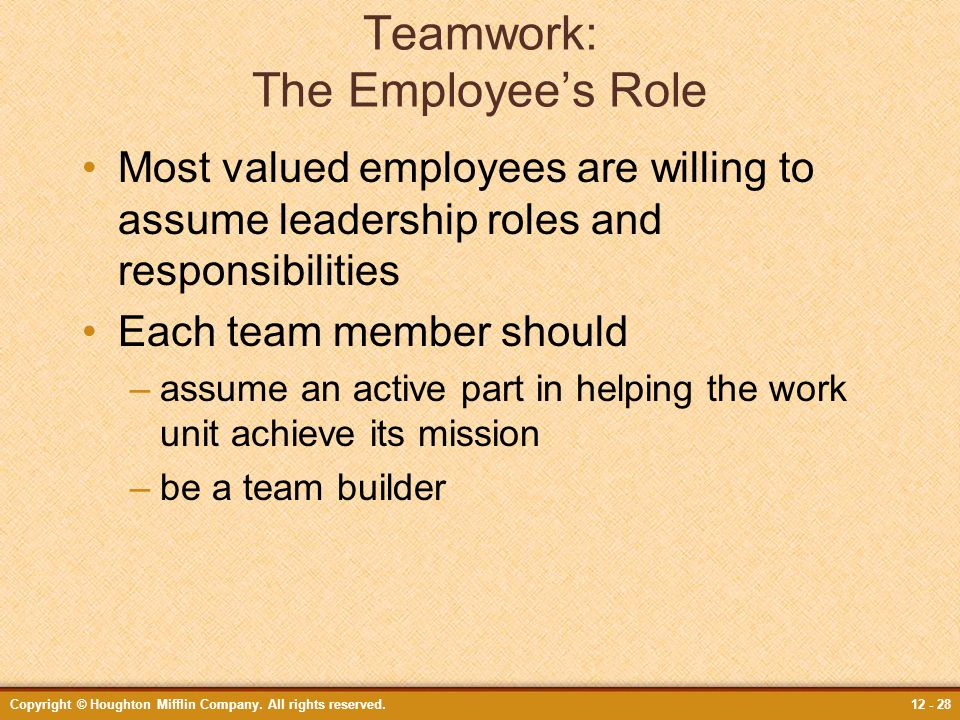 Teamwork: The Employee's Role