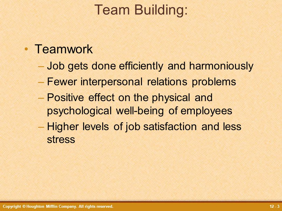 Team Building: Teamwork Job gets done efficiently and harmoniously