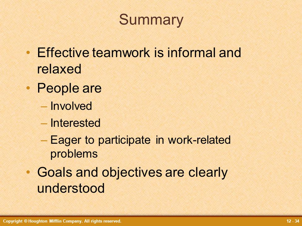 Summary Effective teamwork is informal and relaxed People are