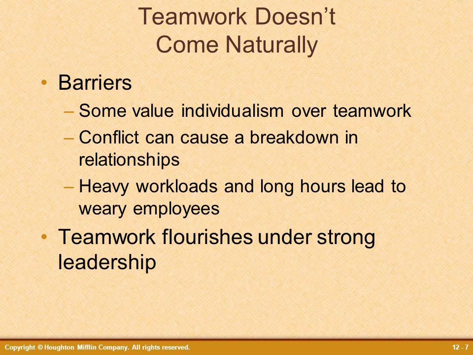 Teamwork Doesn't Come Naturally