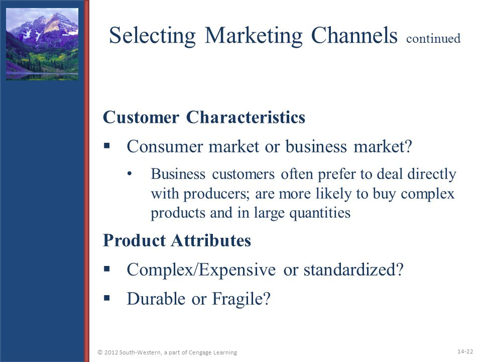 Selecting Marketing Channels continued