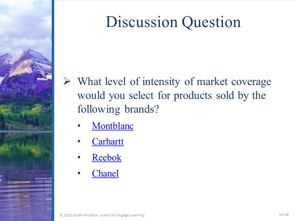 Discussion Question What level of intensity of market coverage would you select for products sold by the following brands