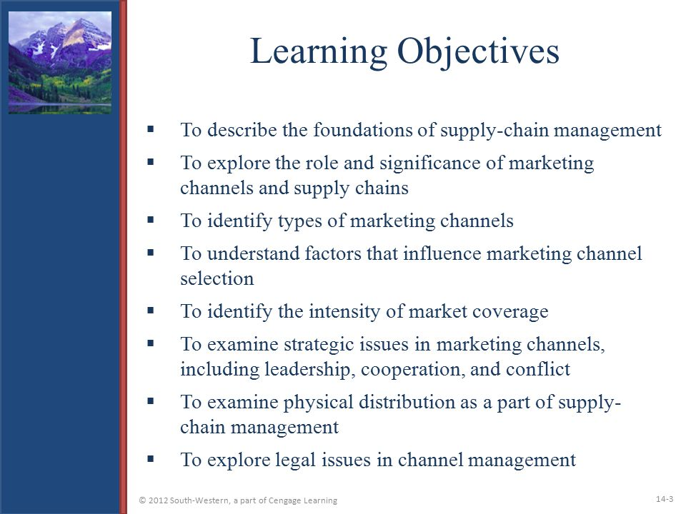 Learning Objectives To describe the foundations of supply-chain management.