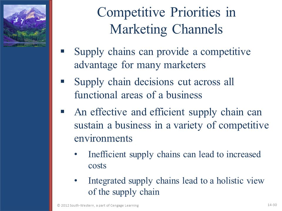 Competitive Priorities in Marketing Channels