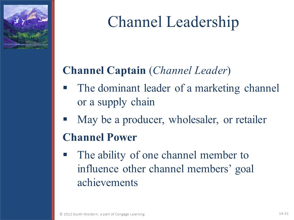 Channel Leadership Channel Captain (Channel Leader)