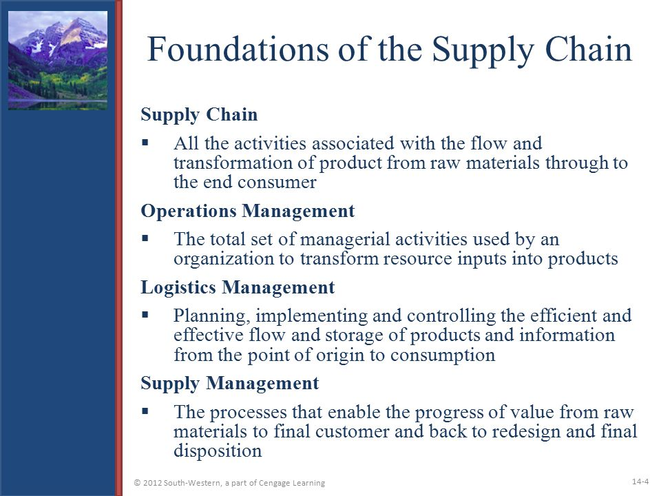 Foundations of the Supply Chain