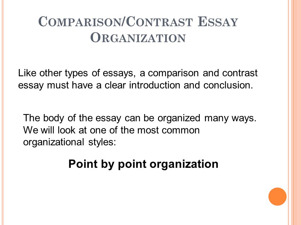 first paragraph of a compare and contrast essay Organizational patterns for the comparison/contrast essay in a comparison/contrast essay, a writer must do the following: first body paragraph: most fast food.