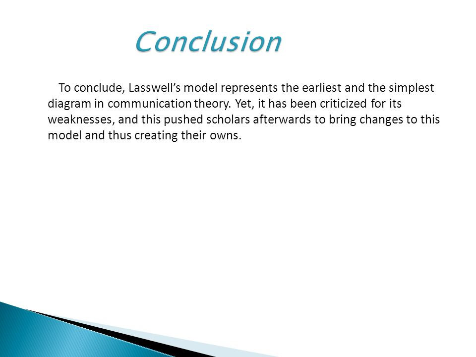 Lasswells model of communication ppt video online download conclusion ccuart Gallery