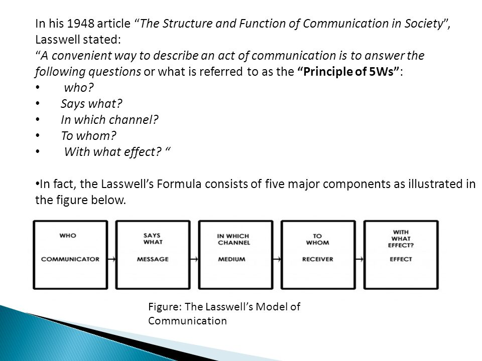 Lasswells model of communication ppt video online download in his 1948 article the structure and function of communication in society lasswell stated ccuart Gallery