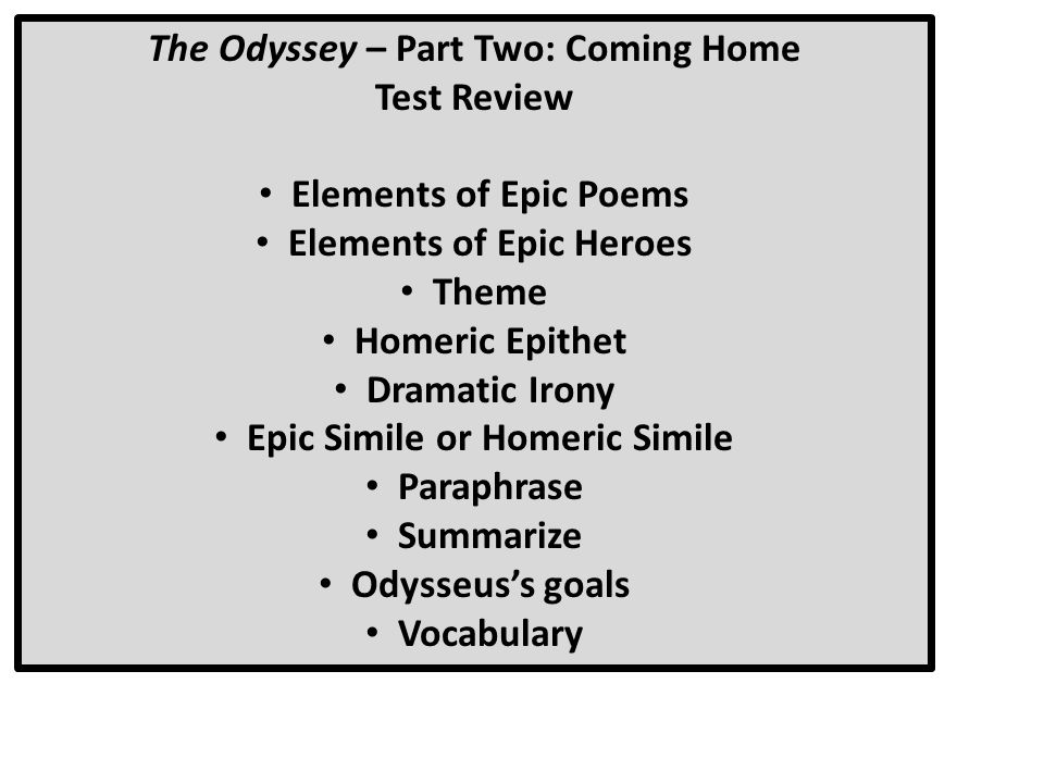 What are three epic similes dealing with Part 1 of The Odyssey?
