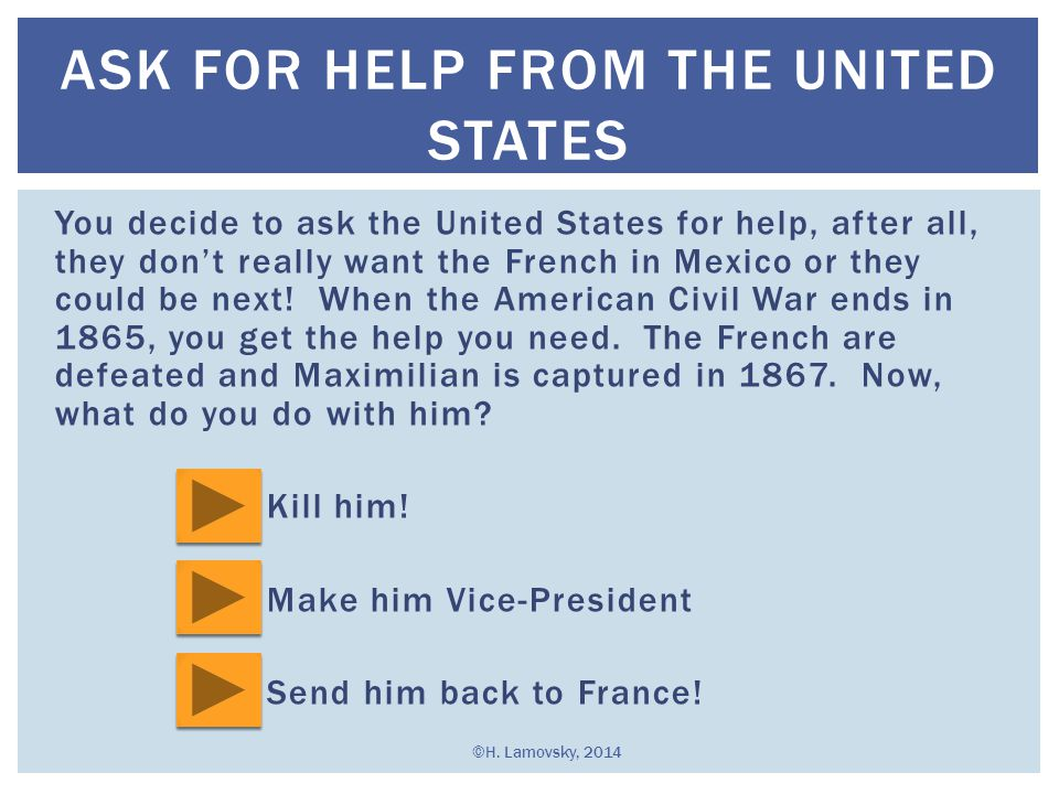 Ask for help from the united states