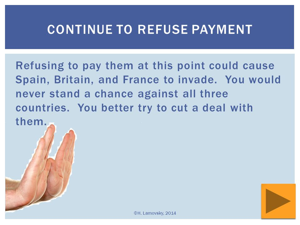 Continue to Refuse Payment