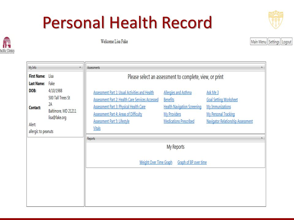 personal health record A personal medical record is a compilation of all your medical information, including test results, treatment reports, and notes written by your health care team.