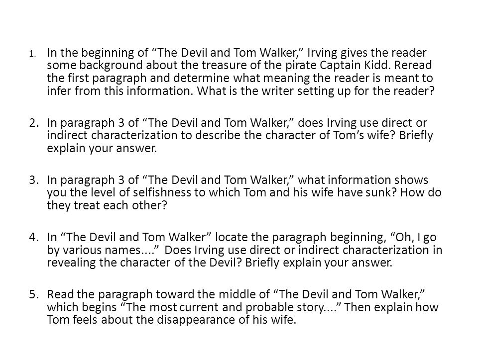 the devil tom walker group assignment ppt in the beginning of the devil and tom walker irving gives the reader