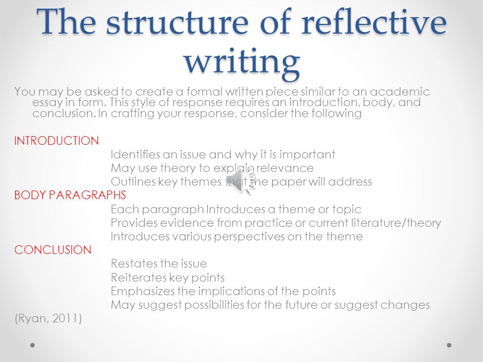 structure of the reflective essay Below we offer two examples of thoughtful reflective essays that effectively and substantively capture the author's growth over time at california state university.