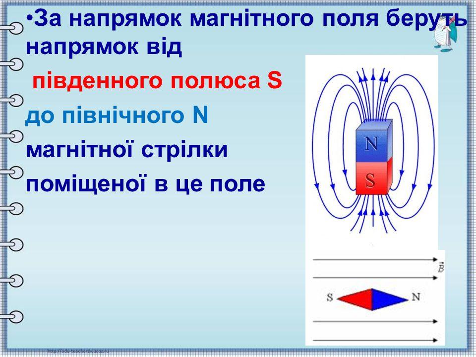 За напрямок магнітного поля беруть напрямок від