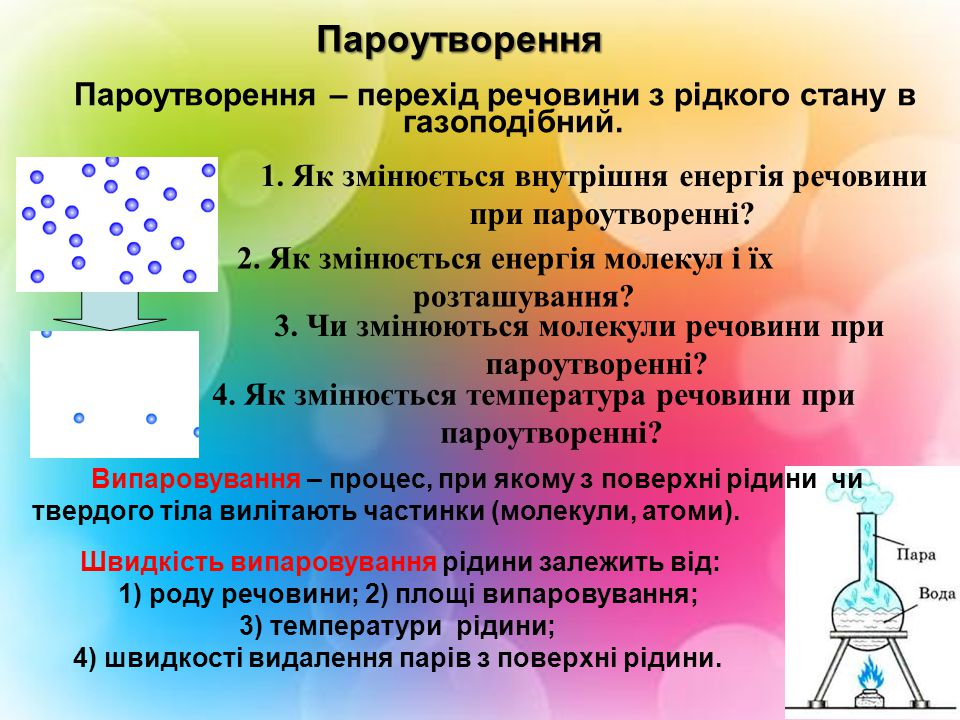 Пароутворення Пароутворення – перехід речовини з рідкого стану в газоподібний. 1. Як змінюється внутрішня енергія речовини при пароутворенні