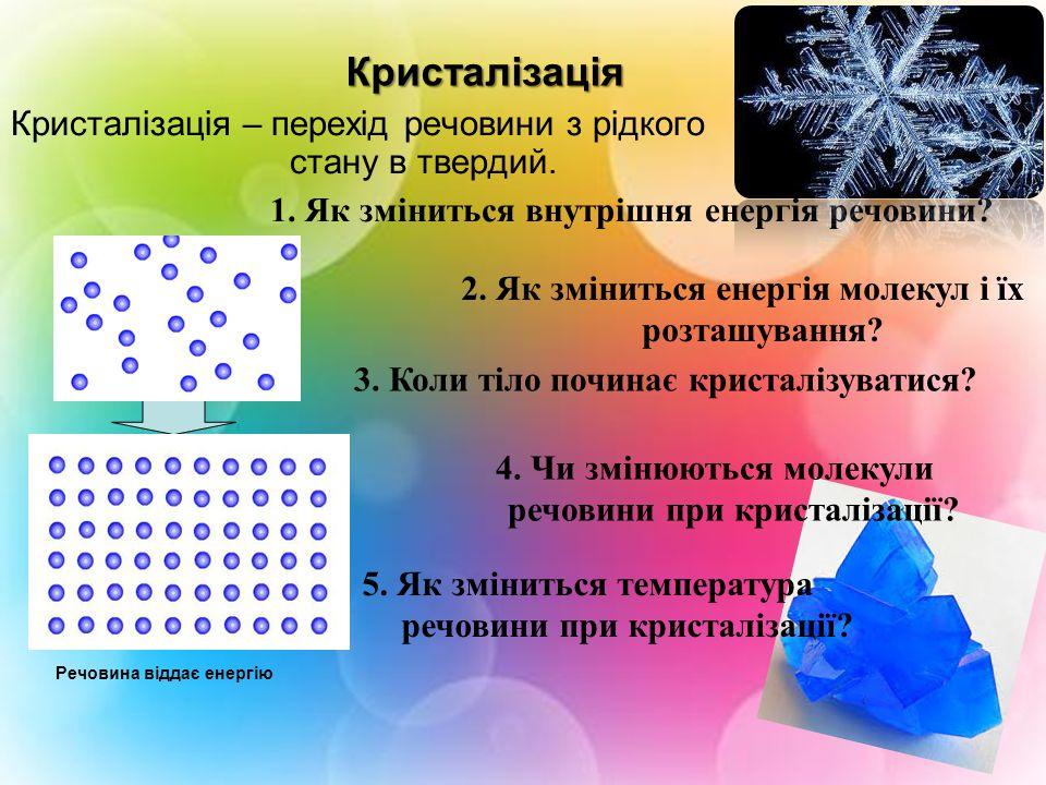 Кристалізація Кристалізація – перехід речовини з рідкого