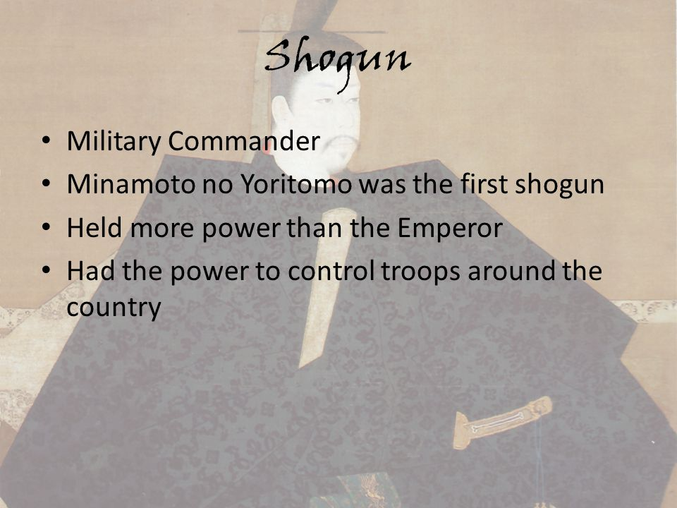 minamoto no yoritomo the first shogun Minamoto no yoritomo (源 頼朝, may 9, 1147 – february 9, 1199) was the founder and the first shōgun of the kamakura shogunate of japan.