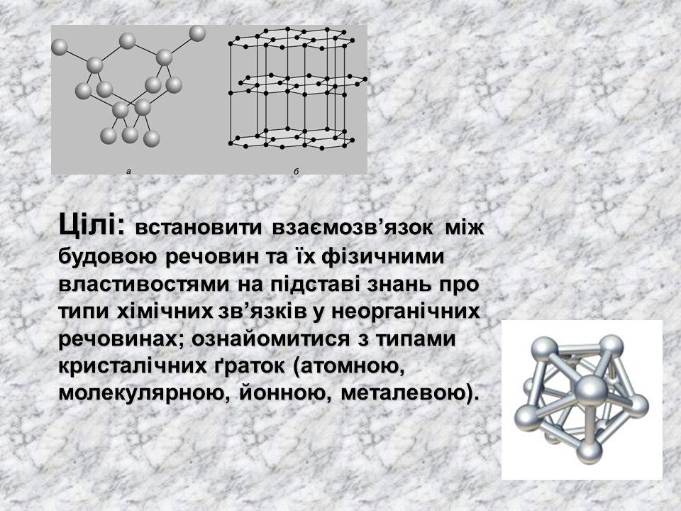 Цілі: встановити взаємозв'язок між будовою речовин та їх фізичними властивостями на підставі знань про типи хімічних зв'язків у неорганічних речовинах; ознайомитися з типами кристалічних ґраток (атомною, молекулярною, йонною, металевою).