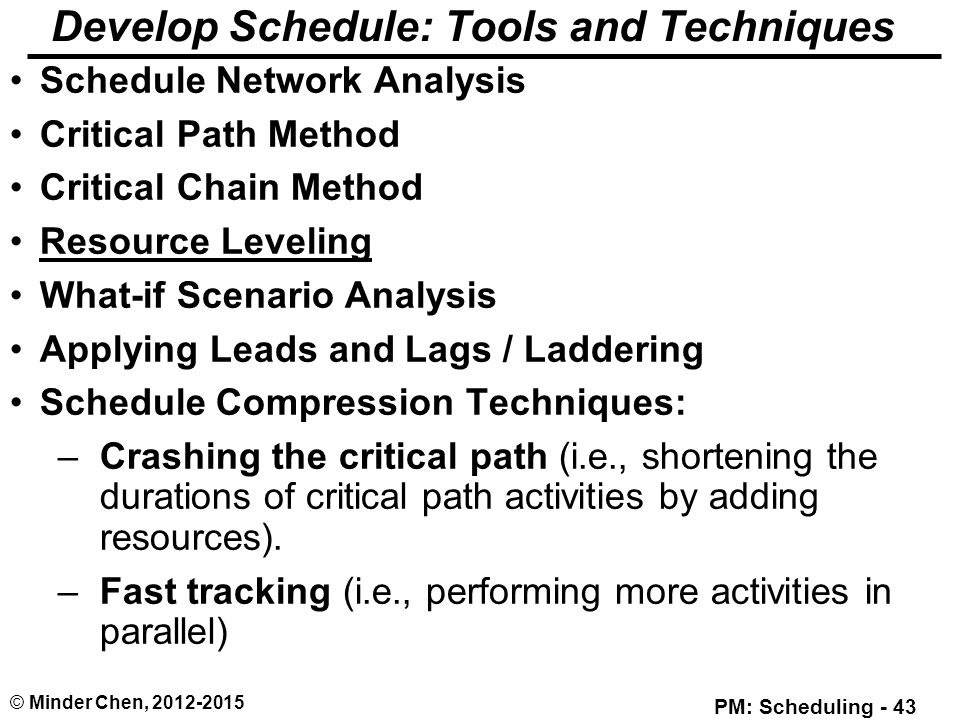 resource scheduling methods analysis Resource scheduling method (rsm), assign priority to activities that are  lova  a, tormos p analysis of scheduling schemes and heuristic.