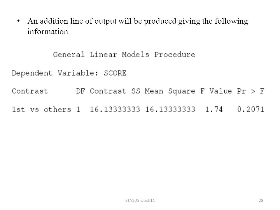 An addition line of output will be produced giving the following information