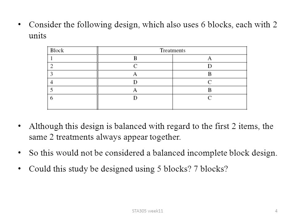 So this would not be considered a balanced incomplete block design.