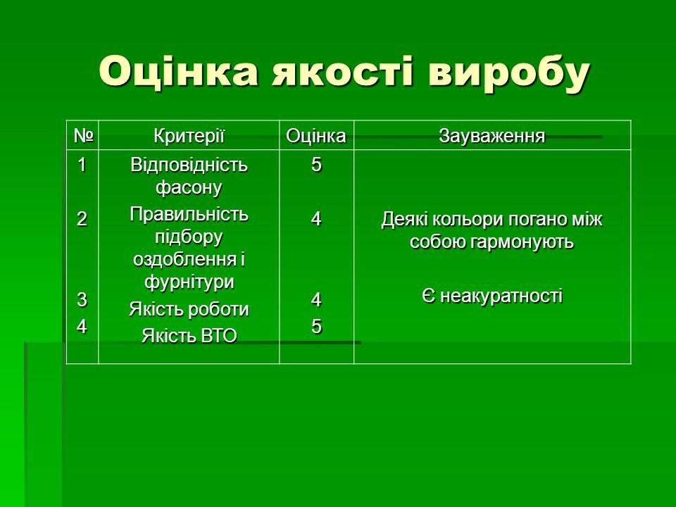 Оцінка якості виробу № Критерії Оцінка Зауваження 1 2 3 4